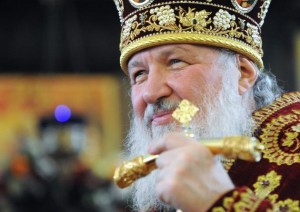 Patriarch Kirill performing divine liturgy at Moscow State University church